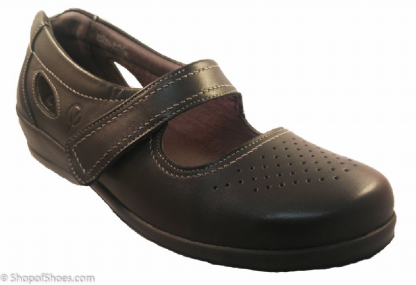 Farlow Ladies black Extra Wide easy access velcro summer Shoe 4E-6E